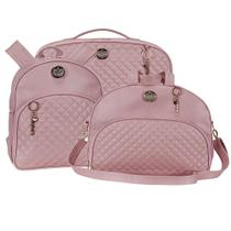 Kit bolsa maternidade Mochila + Mala 3 pçs- Oxford rosê  - Batistela Baby -