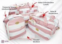 Kit Bolsa Maternidade Multifunção Listrado Rosa Com Branco - Espera Feliz