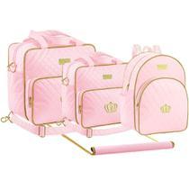 Kit Bolsa Maternidade Trocador Mochila Plike Baby Rosa TM-DR3 -