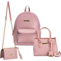 kit bolsa mochila + bolsa tiracolo e carteira Iasmim prado rosa -