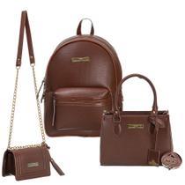 kit bolsa mochila + bolsa tiracolo e carteira Iasmim prado -