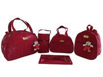 kit bolsa redonda vermelha com mochila de bebe saída de maternidade 5pçs - Clara baby