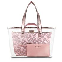 Kit bolsa shopper 3 em 1 necessaire praia transparente diamantes jacki design rosa gold