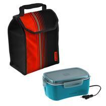 Kit Bolsa Térmica Lunch 4,2 L  + Marmita Elétrica Bivolt Azul Refeição - Soprano -