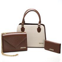 Kit Bolsas bicolor mais carteira Metalassê, com alça transversal Marrom/Creme - Santorini Handbag