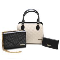 Kit Bolsas bicolor mais carteira Metalassê, com alça transversal Preto/Creme - Santorini Handbag