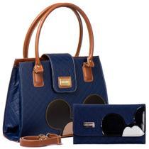 Kit Bolsas Femininas Disney Mickey Azul Transversal Com Carteira Mickey Porta Cartão - CARLAMELLO