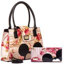 Kit Bolsas Femininas Disney Mickey Floral Transversal Com Carteira Mickey Porta Cartão - Carla Mello