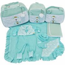 Kit Bolsas Maternidade 4pcs Mochila e Saída Verde Menino - Império dos bebes
