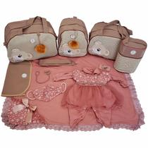 Kit Bolsas Maternidade 5 Peças com Saída Premium Nude Macacão - Império Dos Bebès