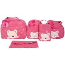Kit Bolsas Maternidade 5 Peças Rosa Pink Urso - Império dos Bebès
