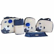 Kit Bolsas Maternidade Luxo 5 peças Azul Marinho Urso - Império Dos Bebès