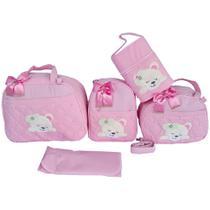 Kit Bolsas Maternidade luxo 5 peças Rosa Bebê Urso Térmica - Império dos Bebès