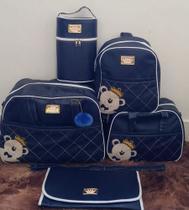 Kit Bolsas Maternidade Térmicas 5 (cinco) Peças Menino Azul escuro - Ursinho Príncipe - Real Sonho