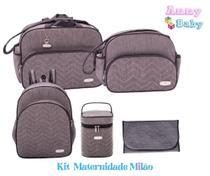 Kit Bolsas + Mochila G + Porta Mamadeira + Trocador Maternidade Milão Cinza/preto - Lilian baby