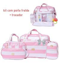 Kit Bolsas + Trocador Maternidade Menino Barato Atacado Marinho Listrado Rosa - Griff Baby