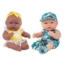 Kit Boneca Bebê Neneca Negra + Boneco Neneco 100% Vinil 40cm - Super Toys