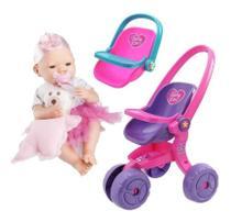 Kit Boneca Bebe Real Menina Com Carrinho E Bebe Conforto - Roma Brinquedos
