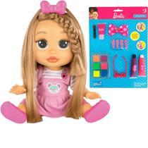 Kit Boneca Infantil Interativa Fala + de 25 Frases Baby Wow Mia Meu Cabelo Cresce De Verdade A Partir de 4 Anos + Cartela de Maquiagem Para Boneca - Multikids Baby