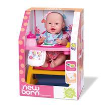 Kit boneca new born banho + boneca new born faz xixi divertoys -