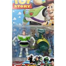 KIT  Boneco Buzz Lightyear E o Dinossauro Rex Articulado - Toy Story 4 (4904) - Cartelado