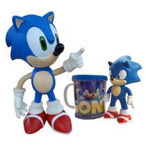 Kit Boneco Sonic 25cm E Sonic 16cm Com Caneca Personalizada - Super Size Figure Collection