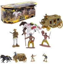 Kit boneco velho oeste com cavalos e carruagem 7 acessórios na caixa - Wellmix