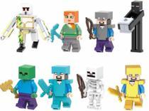Kit Bonecos Blocos De Montar Minecraft Enderman Steve Zombie - Wm