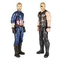 Kit Bonecos Capitão América e Thor Guerra Infinita Titan Hero Series - Hasbro -