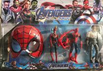 Kit bonecos vingadores com 3 bonecos e 1 máscara homem aranha - Avengers