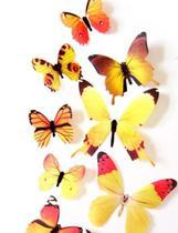 Kit borboleta colorida adesiva amarela - Import