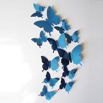 Kit Borboletas Espelhadas 3D Azul - 12 unidades - Town