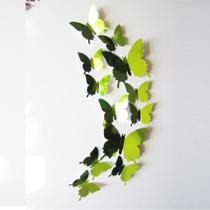Kit Borboletas Espelhadas 3D Verde - 12 unidades - Town