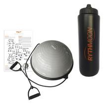 Kit Bosu Meia Bola Balance Dome c/ Elástico e Bomba VP1037 Vollo Cinza + Squeeze Automático 1lt - Rythmoon