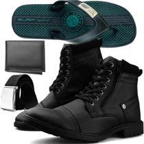 Kit Bota Casual Dhl Masculina 590 Preta + Cinto + Carteira + Chinelo SW Conforto 1505 Verde - Dhl Calçados