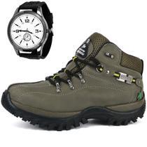 Kit Bota Coturno Adventure Cano Médio Lançamento + Relógio - Sw Shoes