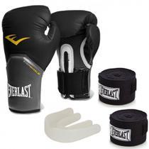 Kit Boxe  com Luva pro Style 12 Oz Preta + Protetor Bucal + 2 Bandagens - Everlast