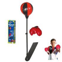 Kit boxe com luvas bola de socar e suporte ajustavel infantil 106cm punching ball - Gimp