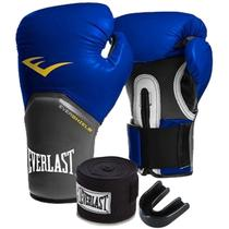 KIT BOXE ELITE EVERLAST 12oz AZUL -