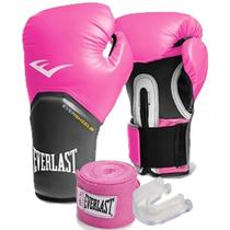 KIT BOXE ELITE EVERLAST 12oz ROSA -