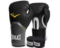 Kit Boxe Everlast - Luva Preta 14oz + Bandagem - Rythmoon