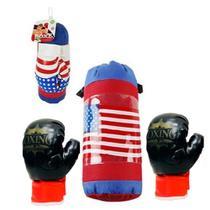 Kit Boxe Infantil Saco De Pancadas Grande 40Cm E Luva De Boxe Muay Thai Usa Criança - Makeda
