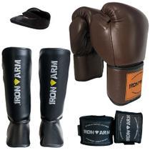 Kit Boxe Luva Bandagem Protetor Bucal Caneleira G - Iron Arm -