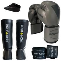 Kit Boxe Luva Bandagem Protetor Bucal Caneleira M - Iron Arm -
