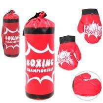 Kit Boxe Muay Tay Saco de Pancadas Vermelho + Par de Luvas Infantil - Kopeck -