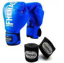 Kit Boxe Muay Thai Fheras Luva Bandagem Azul 12oz -
