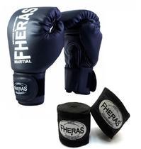 Kit Boxe Muay Thai Fheras Luva Bandagem Preta 10oz -