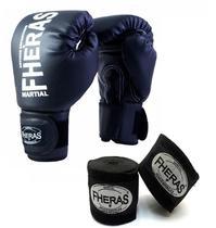 Kit Boxe Muay Thai Fheras Luva Bandagem Preta 12oz -