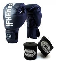 Kit Boxe Muay Thai Fheras Luva Bandagem Preta 14oz -