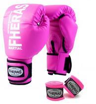 Kit Boxe Muay Thai Fheras Luva Bandagem Rosa 12OZ -